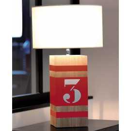 Lampe bois Up M rouge