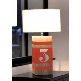 Lampe bois Up M orange