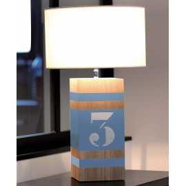 Lampe bois Up M gris bleu