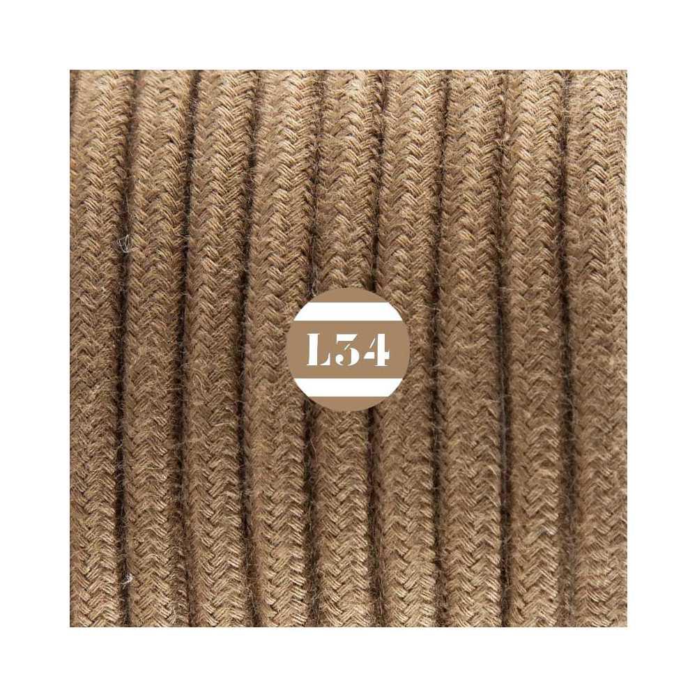 Fil lectrique tissu marron coton - Cable electrique tissu ...