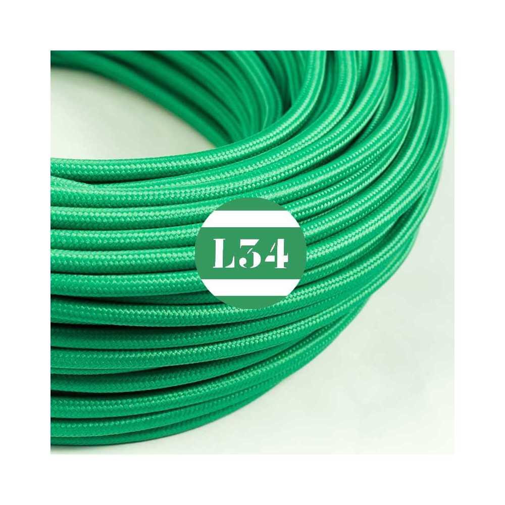 Fil lectrique tissu vert soie - Cable electrique tissu ...