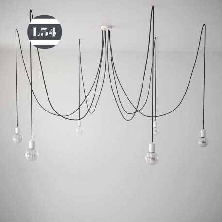 suspension 6 fils lectriques tissus noirs. Black Bedroom Furniture Sets. Home Design Ideas