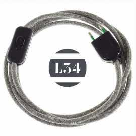 Cordon electrique tissu gris lin avec interrupteur et fiche noir - 1