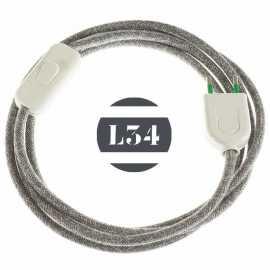 Cordon electrique tissu gris lin avec interrupteur et fiche blanc - 1