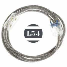 Cordon electrique tissu gris lin avec interrupteur et fiche transparent - 1
