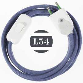 Cordon electrique tissu gris bleu avec interrupteur et fiche blanc - 1