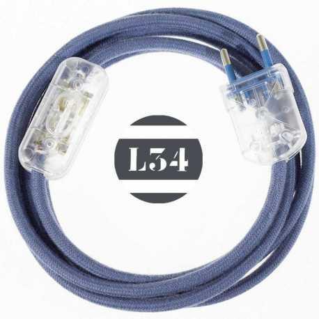 Cordon electrique tissu gris bleu avec interrupteur et fiche transparent - 1