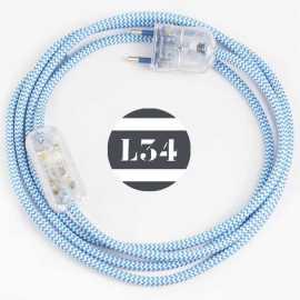 Cordon electrique tissu turquoise zig zag avec interrupteur et fiche transparent - 1