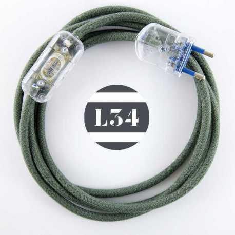 Cordon electrique tissu gris vert avec interrupteur et fiche transparent - 1