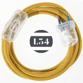 Cordon electrique tissu jaune doré coton avec interrupteur et fiche transparent - 1