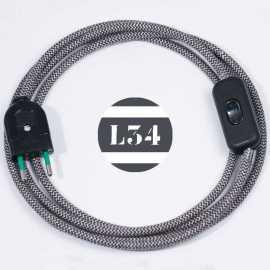 Cordon electrique tissu gris zig zag avec interrupteur et fiche noir
