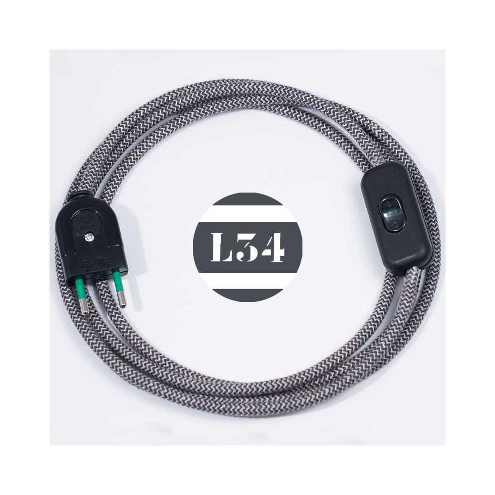 Cordon Electrique Pour Lampe cordon textile gris zig zag avec interrupteur et fiche noir