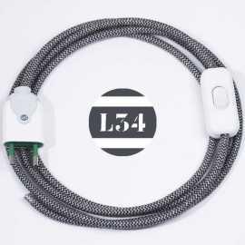 Cordon electrique tissu gris zig zag avec interrupteur et fiche blanc