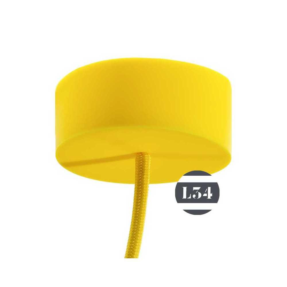 suspension silicone jaune avec cordon tissu et pavillon assorti. Black Bedroom Furniture Sets. Home Design Ideas
