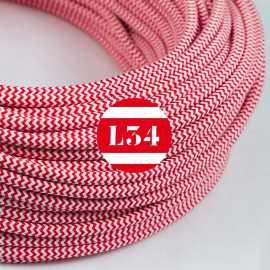 Câble électrique textile ZigZag rouge et blanc