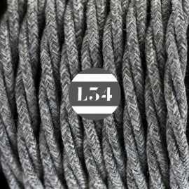 Câble électrique torsadé coton gris chiné