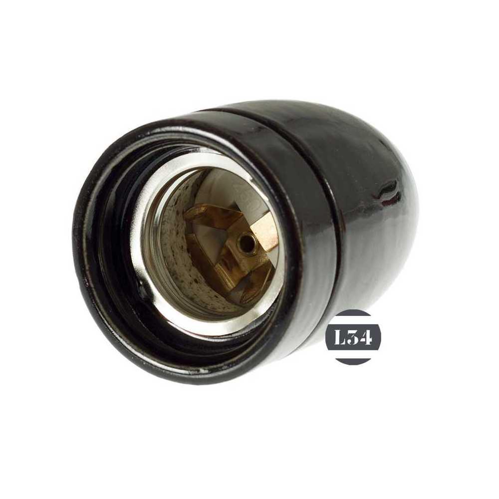 Douille E27 porcelaine noire pour luminaire - L34
