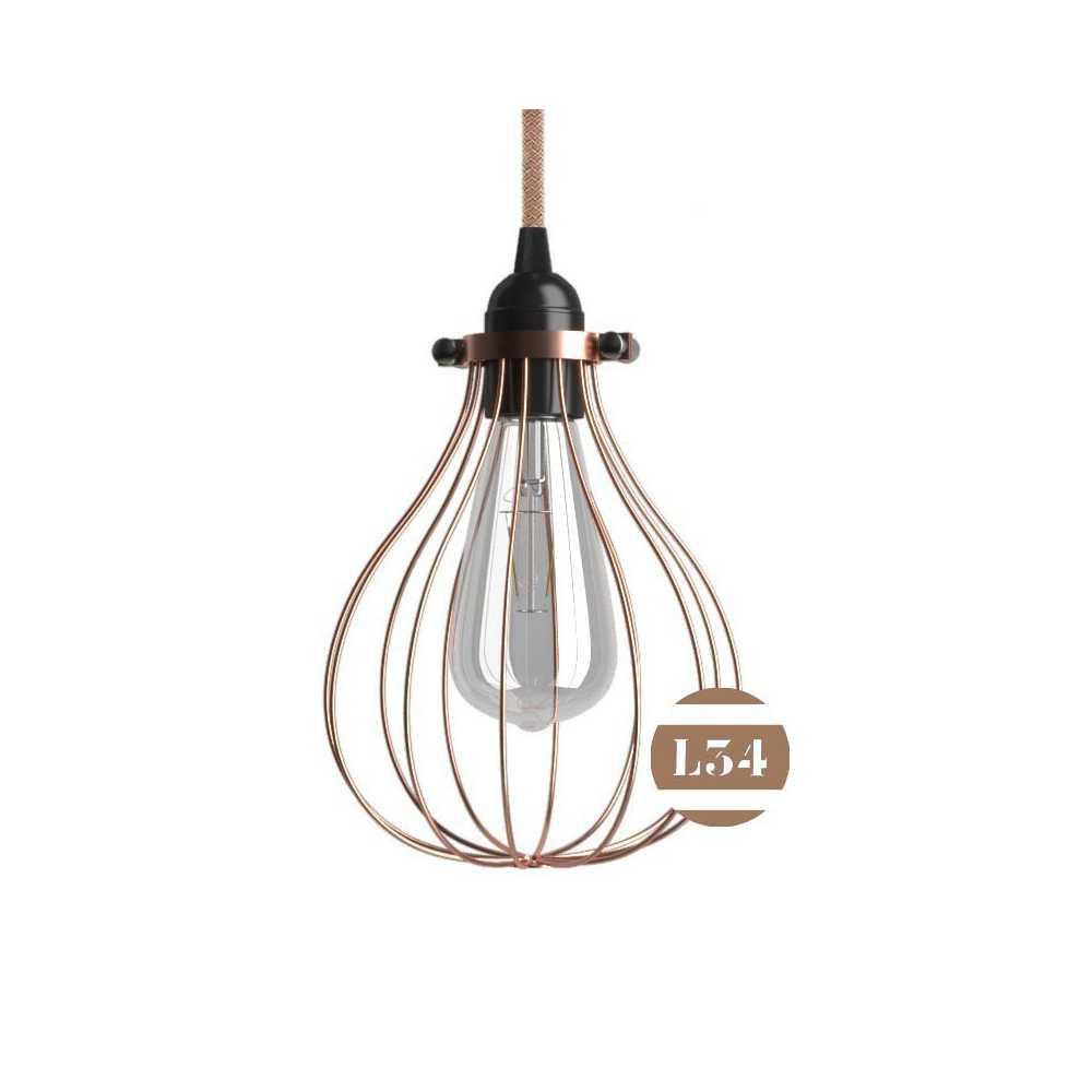 Luminaire cage en m tal cuivr - Suspension metal cuivre ...