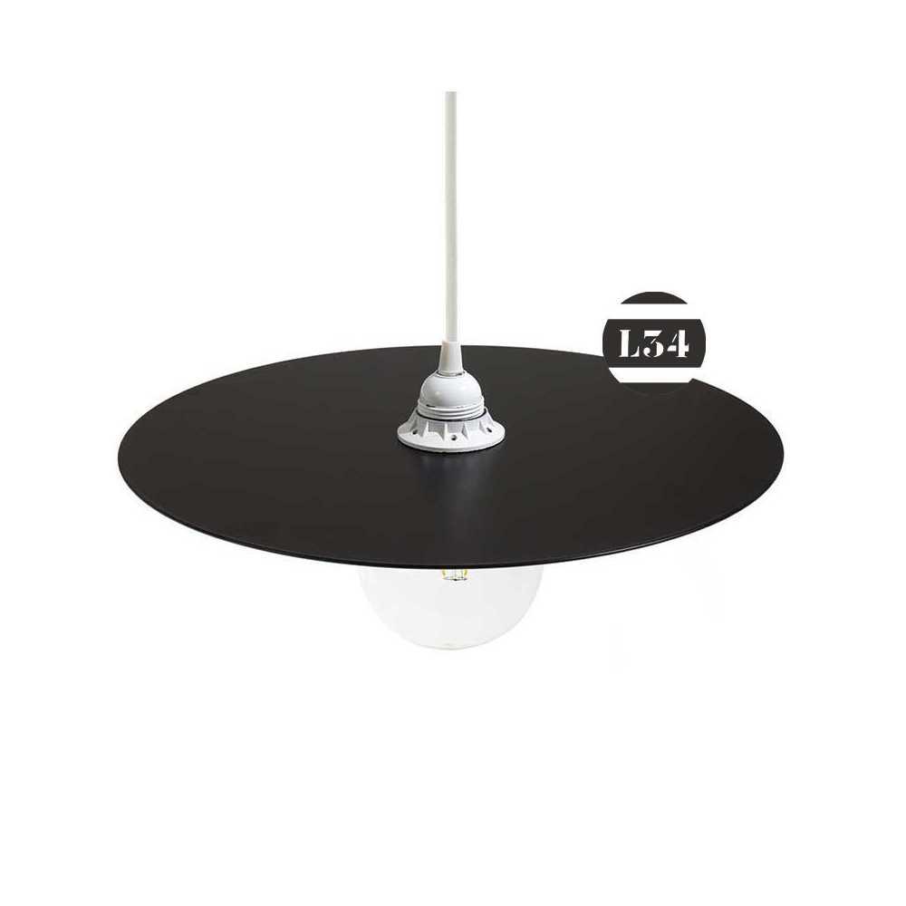 Suspension disque en fer noir verni for Suspension en fer noir