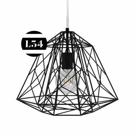 suspension cage en m tal noir. Black Bedroom Furniture Sets. Home Design Ideas