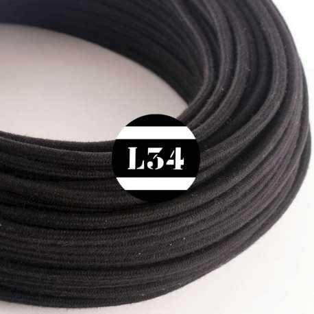 Câble électrique textile noir coton