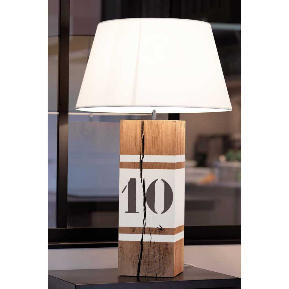 grande lampe en bois l34 blanc. Black Bedroom Furniture Sets. Home Design Ideas
