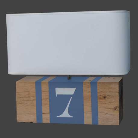 Lampe bois gris bleu Brick XL