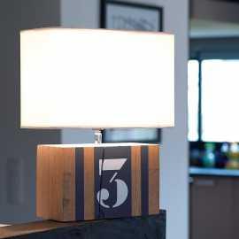 Lampe bois anthracite Brick M