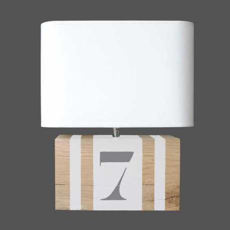 Lampe bois blanc Brick M
