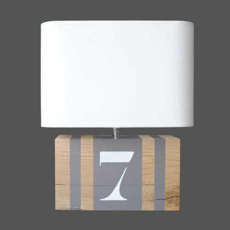 Lampe bois taupe Brick M