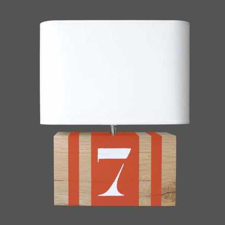 Lampe bois orange Brick M