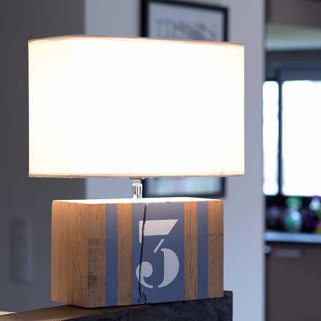 Lampe bois gris bleu Brick M