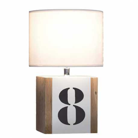 Petite Lampe Bois Blanc Brick S