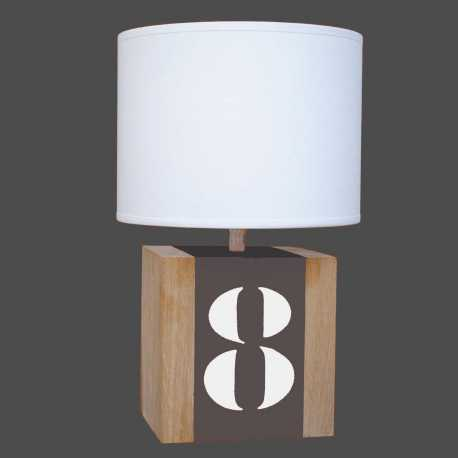 Petite lampe bois taupe Brick S