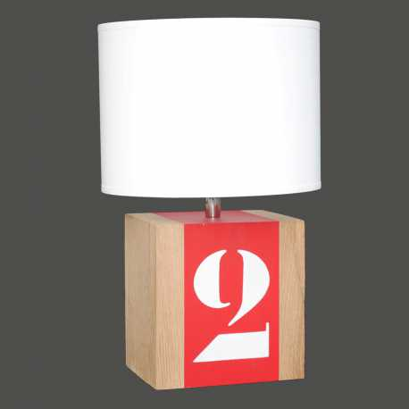 Petite lampe bois rouge Brick S