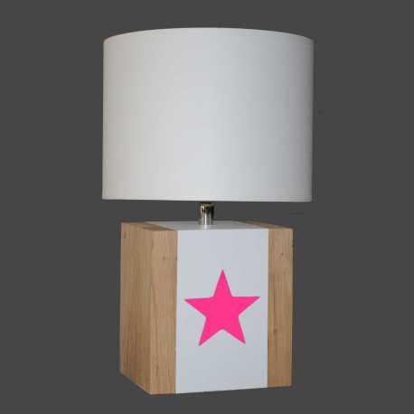 Petite lampe bois BRICK S étoile rose fluo