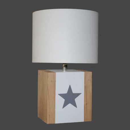 Petite lampe bois BRICK S étoile taupe
