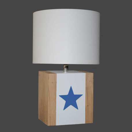 Petite lampe bois BRICK S étoile bleu nuit