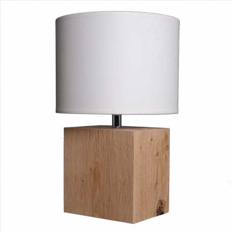 Petite lampe bois brut Brick S abat-jour blanc