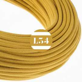 Câble électrique textile jaune doré coton