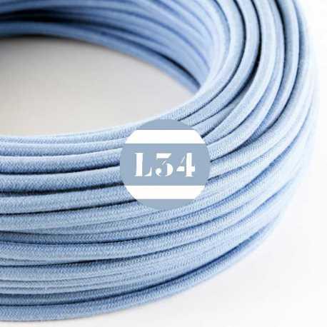 Câble électrique textile bleu océan coton