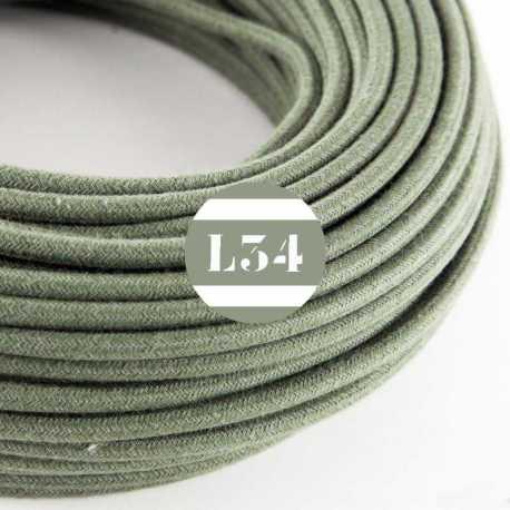 Câble électrique textile gris vert coton