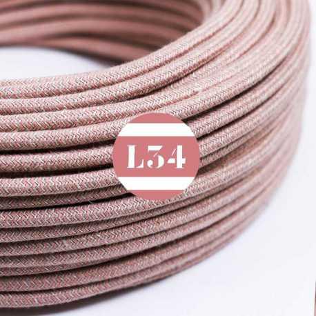 Câble électrique textile ZigZag vieux rose et lin