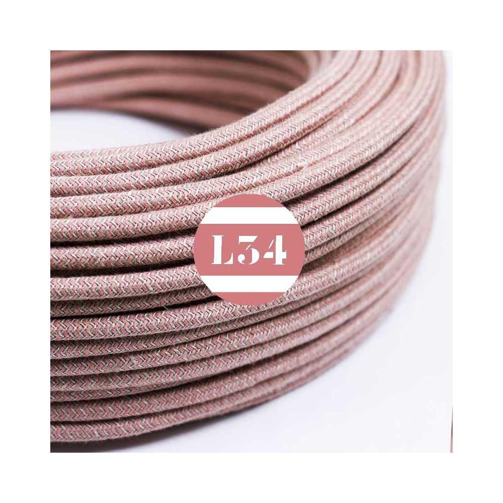 Fil lectrique tissu zigzag vieux rose et lin - Cable electrique tissu ...