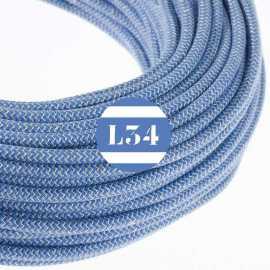 Câble électrique textile ZigZag bleu et lin