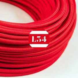Câble électrique textile rouge soie