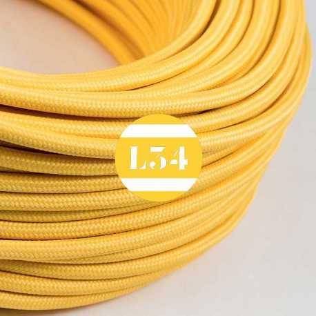 Câble électrique textile jaune soie