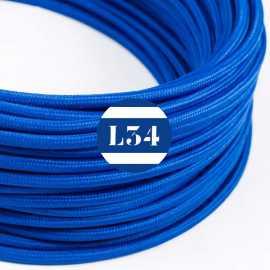 Câble électrique textile bleu soie
