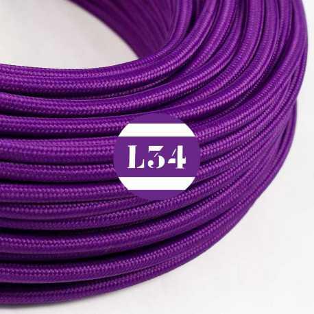 Câble électrique textile violet soie