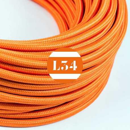Câble électrique textile orange soie
